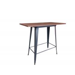 Table Bar Métal/Pin noir brossé