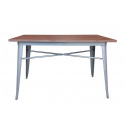 Table 120x60 Métal/Pin gris mat