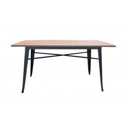 Table 150x80 Métal/Pin noir mat