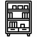 Etagères, bibliothèques et vitrines